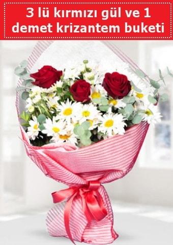 3 adet kırmızı gül ve krizantem buketi  Düzce internetten çiçek siparişi