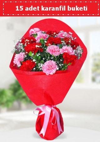15 adet karanfilden hazırlanmış buket  Düzce çiçek yolla , çiçek gönder , çiçekçi