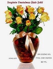Düzce çiçek servisi , çiçekçi adresleri  mika yada Cam vazoda 12 adet sari gül